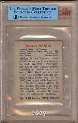 1951 Bowman Mickey Mantle Rc #253 Bvg Authentic