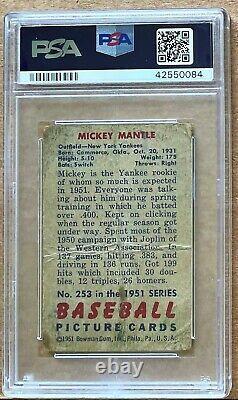 1951 Bowman New York Yankees Mickey Mantle #253 Psa Pr 1 Rookie Card! Hof