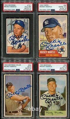 1952-1963 Topps Bowman Signed Auto Mickey Mantle Run PSA/DNA Many GEM MINT 10