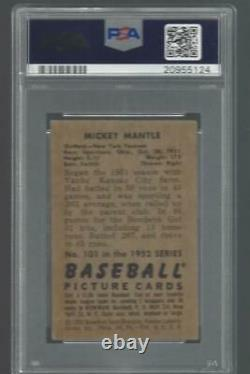 1952 Bowman Mickey Mantle Yankees HOF PSA 3.5 Centered Great Color