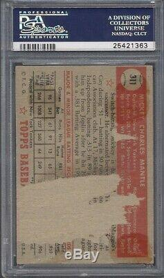1952 Topps 311 Mickey Mantle-Displays Like A $100K Card-Holy Grail-PSA Authentic
