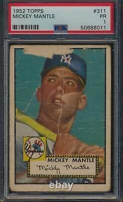 1952 Topps #311 Mickey Mantle HOF PSA 1 P 59240