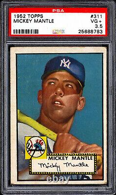 1952 Topps #311 Mickey Mantle PSA 3.5 Gorgeous Color NO Creases RARE Card