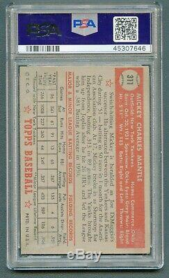 1952 Topps #311 Mickey Mantle Psa 2 Good Rookie