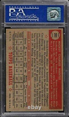 1952 Topps #311 Mickey Mantle Psa 5 Rookie Centered