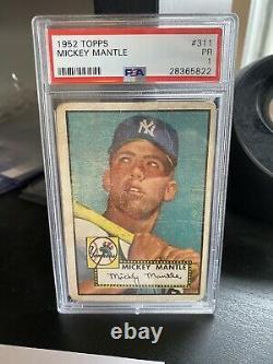 1952 Topps #311 Mickey Mantle RC Rookie HOF Yankees PSA 1 HIGH#