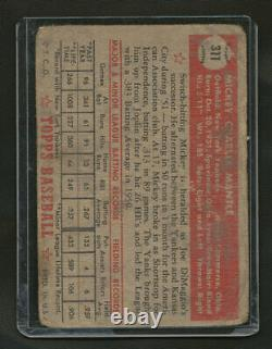 1952 Topps #311 Mickey Mantle - Rare Unslabbed Example 100% Real