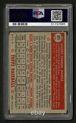 1952 Topps #311 Mickey Mantle Rookie Card Psa 1 Poor Looks Much Better