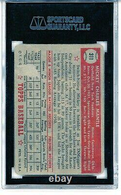 1952 Topps #311 Mickey Mantle SGC 1 PSA 1 Rookie RC Baseball Card