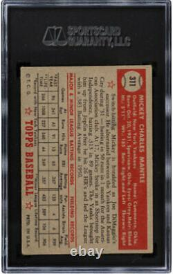 1952 Topps #311 Mickey Mantle Sgc 4 Rookie