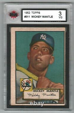 1952 Topps #311 Mickey Mantle Yankees Rookie KSA 3 (100% authentic)