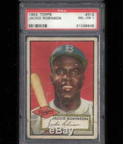 1952 Topps #312 JACKIE ROBINSON PSA Hi Number CENTERED! + 1952 Mickey Mantle RE