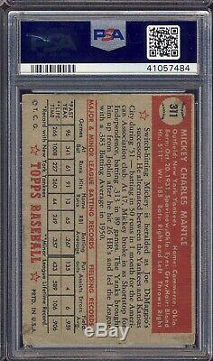 1952 Topps Baseball #311 Mickey Mantle PSA 1