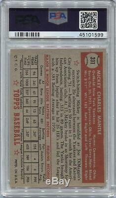 1952 Topps Baseball #311 Mickey Mantle PSA 7.5 (NM+) 1599