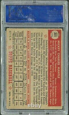 1952 Topps Baseball Mickey Mantle ROOKIE RC Card #311 PSA 2 GOOD CENTERED