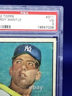 1952 Topps Baseball Mickey Mantle ROOKIE RC Card # 311 PSA 3 GREAT INVESTMENT
