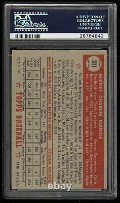 1952 Topps Baseball New York Yankees Mickey Mantle ROOKIE RC Card #311 PSA 1