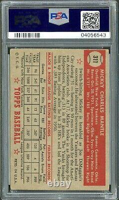 1952 Topps Baseball New York Yankees Mickey Mantle ROOKIE RC Card # 311 PSA 3 VG
