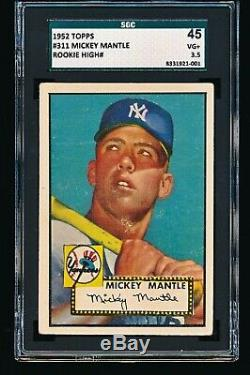 1952 Topps MICKEY MANTLE #311 RC SGC 3.5 NO CREASES