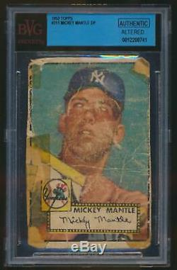 1952 Topps MICKEY MANTLE Rookie New York Yankees BGS BVG Authentic Altered