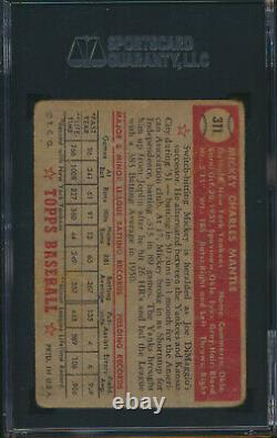 1952 Topps MICKEY MANTLE Rookie New York Yankees SGC 1 Well-Centered