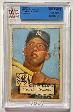 1952 Topps Mickey Mantle #311 DP BVG Authentic Altered New York Yankees PSA SGC