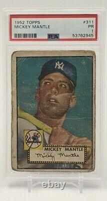 1952 Topps Mickey Mantle #311 PSA 1 Nice Eye Appeal
