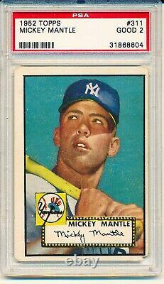 1952 Topps Mickey Mantle #311 RC ROOKIE PSA 2