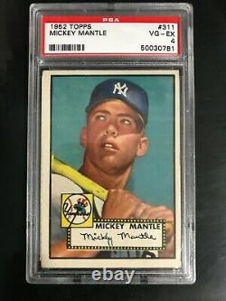 1952 Topps Mickey Mantle #311 ROOKIE CARD RC PSA 4 VG-EX