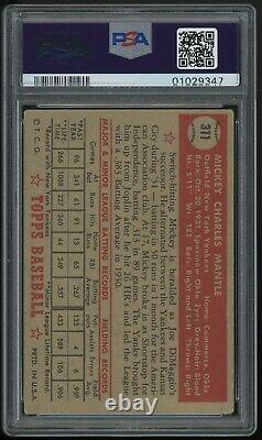 1952 Topps Mickey Mantle #311 Rc Psa 4 Vg-ex Centered Example
