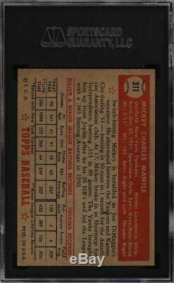 1952 Topps Mickey Mantle #311 SGC 5.5 EX+ NICELY CENTERED Great Color