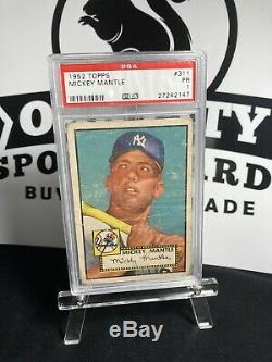 1952 Topps Mickey Mantle PSA 1 RC Rookie Great Color & Centering HOF RC Rookie