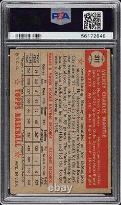 1952 Topps Mickey Mantle ROOKIE RC #311 PSA 5.5 EX+