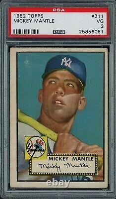1952 Topps Mickey Mantle ROOKIE RC Card #311 PSA 3