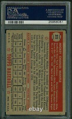 1952 Topps Mickey Mantle ROOKIE RC Card # 311 PSA 3
