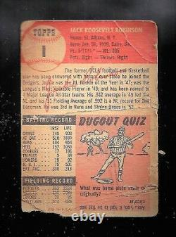 1953 TOPPS #1 JACKIE ROBINSON Original Dodgers! + 1952 Topps Mickey Mantle re