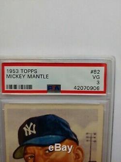 1953 TOPPS #82 MICKEY MANTLE PSA 3 VG Short Print