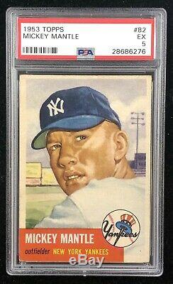 1953 TOPPS MICKEY MANTLE #82 2nd Year PSA 5 EX