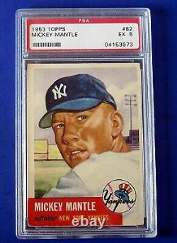 1953 TOPPS MICKEY MANTLE BASEBALL CARD #82 SP NY Yankees PSA 5