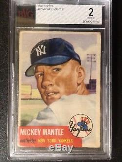 1953 Topps #82 MICKEY MANTLE BVG 2 Yankees 2nd Year Card
