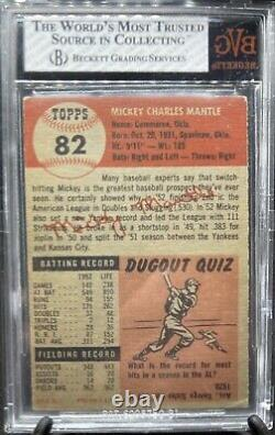 1953 Topps #82 Mickey Mantle BVG 5 EX crossover to PSA Well Centered