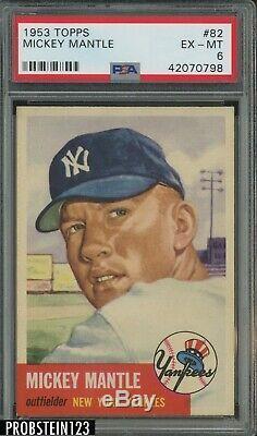1953 Topps #82 Mickey Mantle New York Yankees HOF CENTERED PSA 6 LOOKS NICER