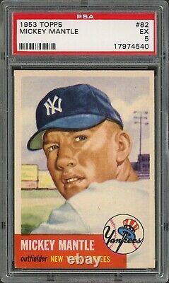 1953 Topps #82 Mickey Mantle New York Yankees PSA 5 EX