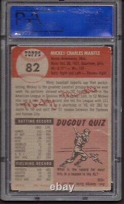 1953 Topps 82 Mickey Mantle PSA 1 PR-FR BLAZER! No creases Amazing color