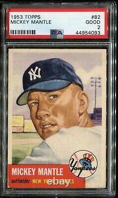 1953 Topps #82 Mickey Mantle PSA 2 GOOD HOF New York Yankees Centered