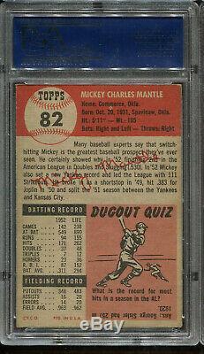 1953 Topps #82 Mickey Mantle PSA 4 Centered HOF New York Yankees