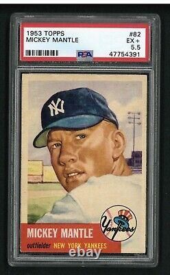 1953 Topps #82 Mickey Mantle PSA 5.5 EX+ High-End
