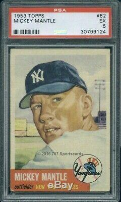 1953 Topps 82 Mickey Mantle PSA 5 (9124)