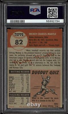 1953 Topps #82 Mickey Mantle PSA 6 mc EX-Mint New York Yankees