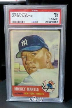 1953 Topps #82 Mickey Mantle Psa 1.5 Fair Mk Iconic Card! 1 2